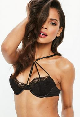 Black Strappy Heart Underwired Bra