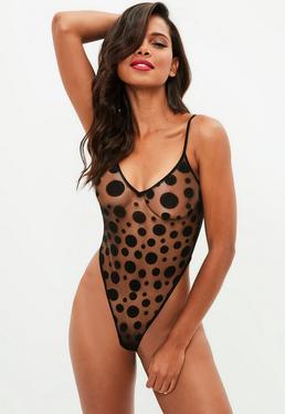 Black Spot Mesh Bodysuit