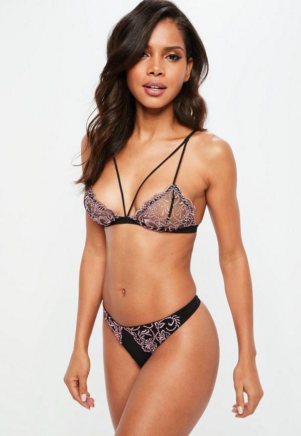 a1c797ace0 Black Corded Lace Triangle Bra