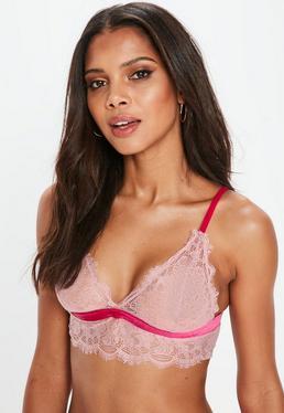 Pink Longline Velvet Trim Lace Bralet