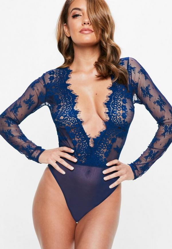Blue Eyelash Lace Extreme Plunge Bodysuit by Missguided