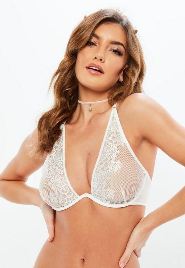 eceec95562f8f8 White Fishnet Lace Cross Back Underwired Soft Bra