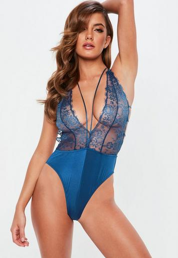 Blue Lace Plunge Babydoll Bodysuit Missguided