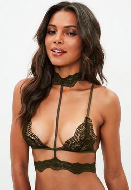 Khaki Choker Harness Triangle Bra