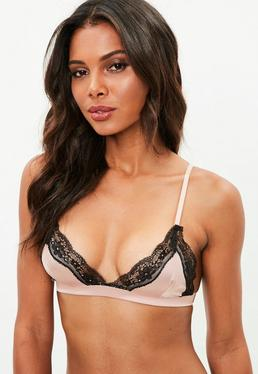 Pink Satin Lace Insert Triangle Bra