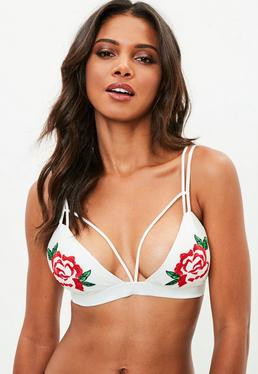 White Rose Embroidered Soft Harness Bra
