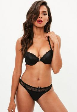 Black Front Fastening Lace Racer Bra and Thong Set