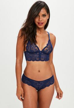 Blue Longline Button Front Soft Bra and Brief