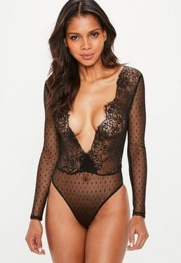 Black Mesh Long Sleeve Polka Dot Lace Bodysuit