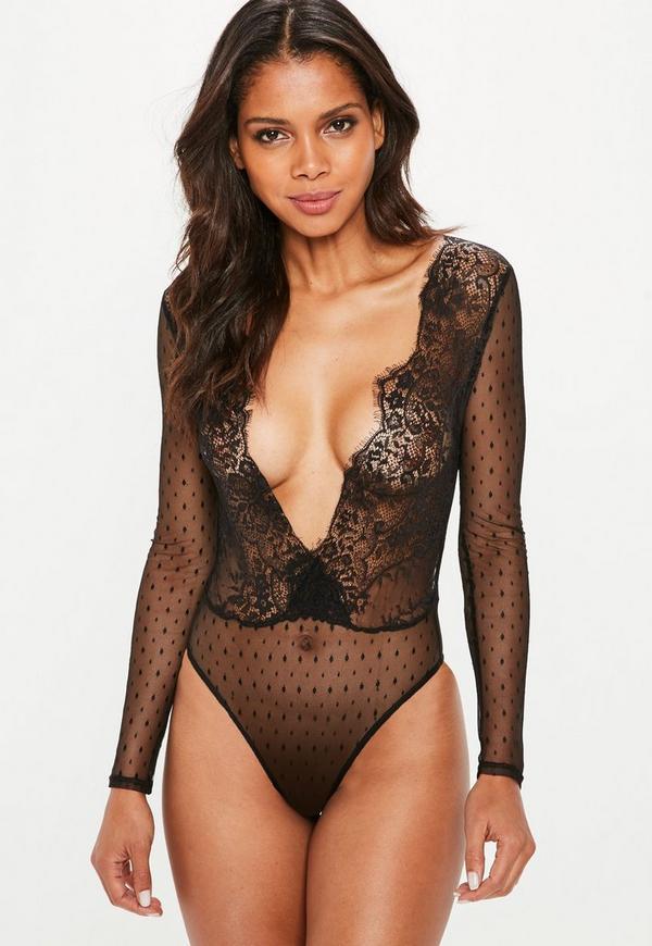 Black Mesh Long Sleeve Polka Dot Lace Bodysuit  | Missguided