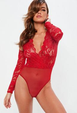 Bright Red Long Sleeve Plunge Bodysuit