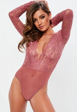 Pink Long Sleeve Plunge Bodysuit
