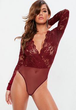 Red Long Sleeve Plunge Bodysuit
