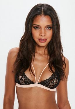 Black Lace Cup Triangle Soft Bra