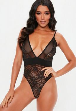 Black Lace Bodysuits f1222a236