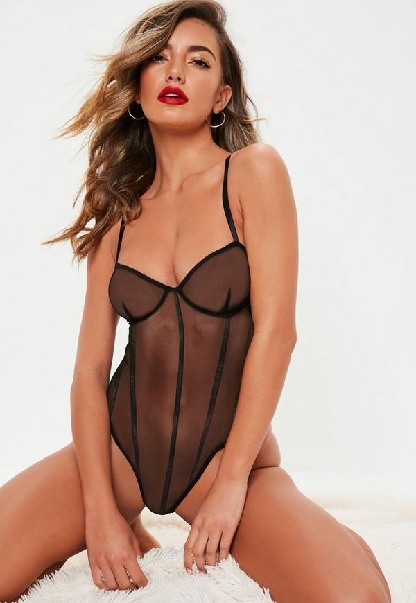 Black Mesh Underwired Binding Detail Bodysuit by Missguided