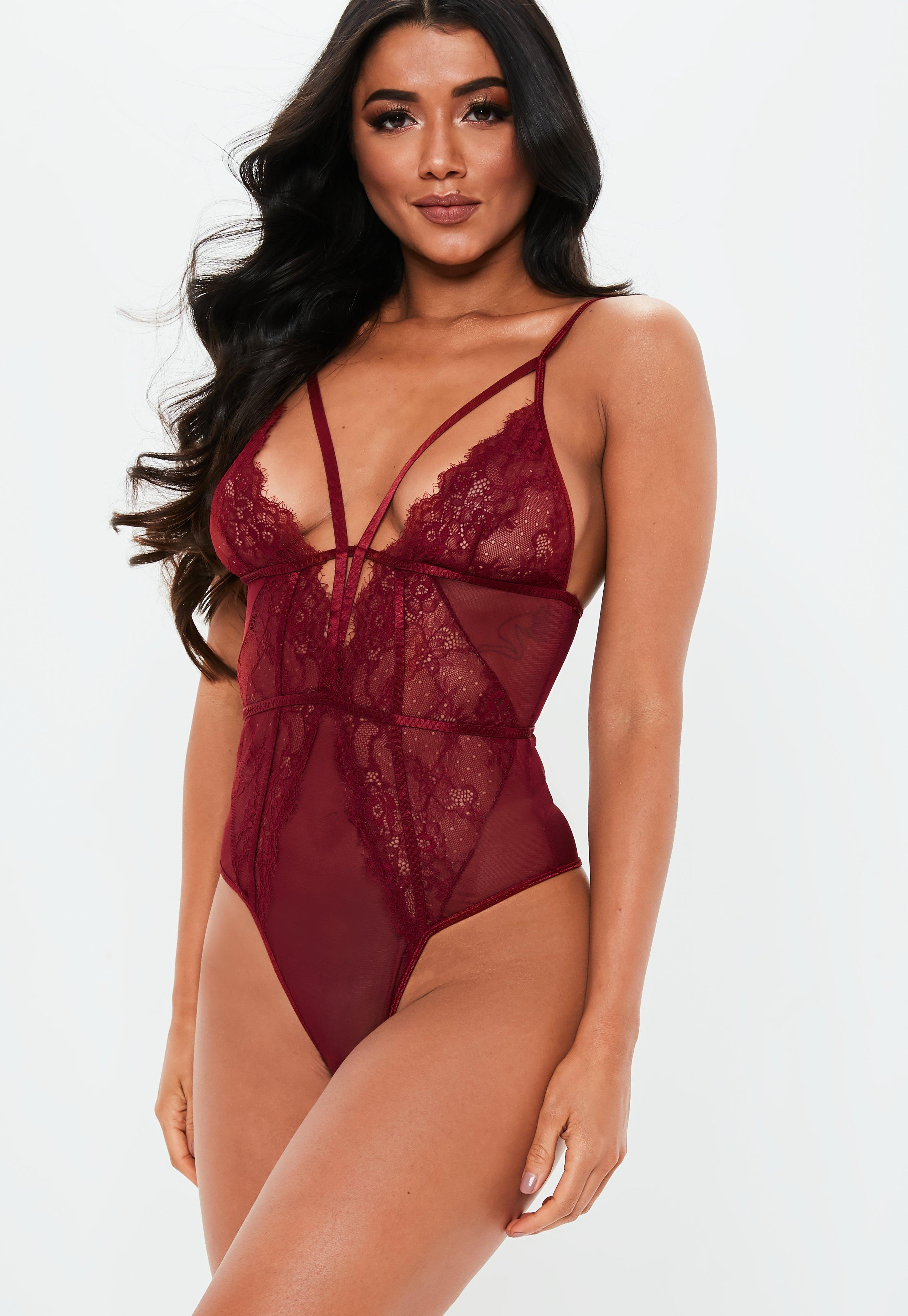 b50c76aaa6992 Burgundy Lace Harness Strap Bodysuit | Missguided Australia