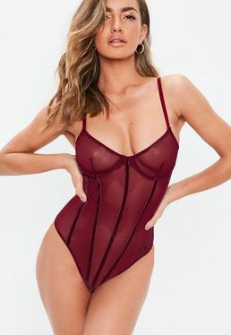 6202e80c911 ... Burgundy Mesh Underwired Binding Detail Bodysuit