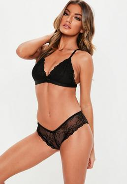 eb24893481 Black Lace Soft Bra and Brief Set