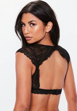 438cad6873d14 Burgundy Eyelash Lace Soft Bra · Black Lace Cap Sleeve Plunge Open Bralete