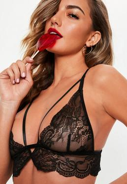 8a96aa0fc ... Black Soft Harness Bra and Cut Out Brief Set