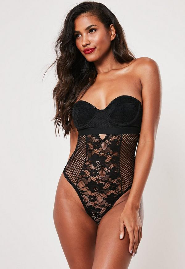 93bf3bd1f1f6d Black Lace Striped Detail Cupped Bodysuit | Missguided Australia