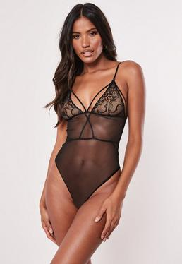 987a3221fe4d Black Eyelash Underwired Bodysuit · Black Lace Mesh Harness Bodysuit
