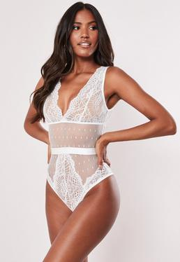 8882babc7f Burgundy Mesh Underwired Binding Detail Bodysuit · White Lace Plunge Front  Bodysuit