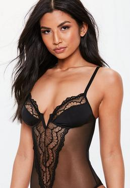 9947f89f66 Black V Bar Lace Panel Bodysuit