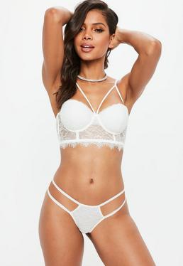 Strap Detail Balconette Lace Bra White
