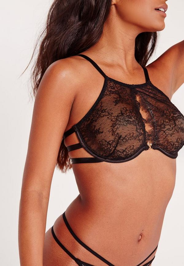 High Neck Lace Underwired Bra Black