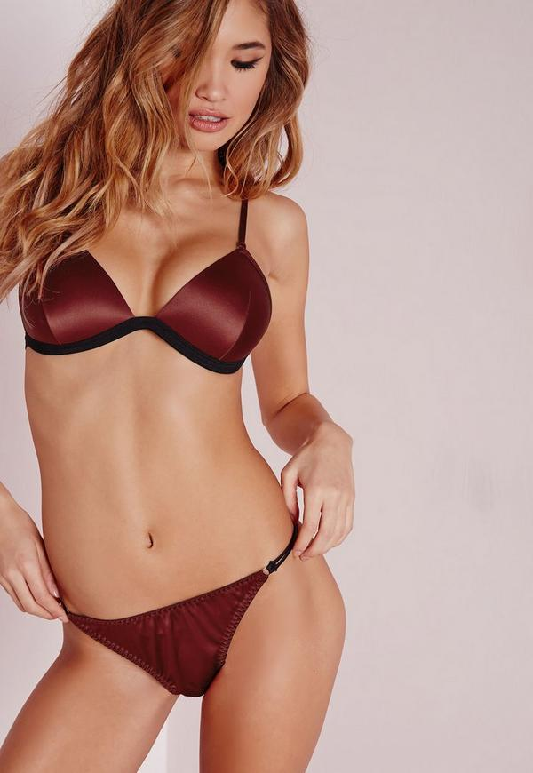 Satin Gold Ring Detail Triangle Bra Burgundy