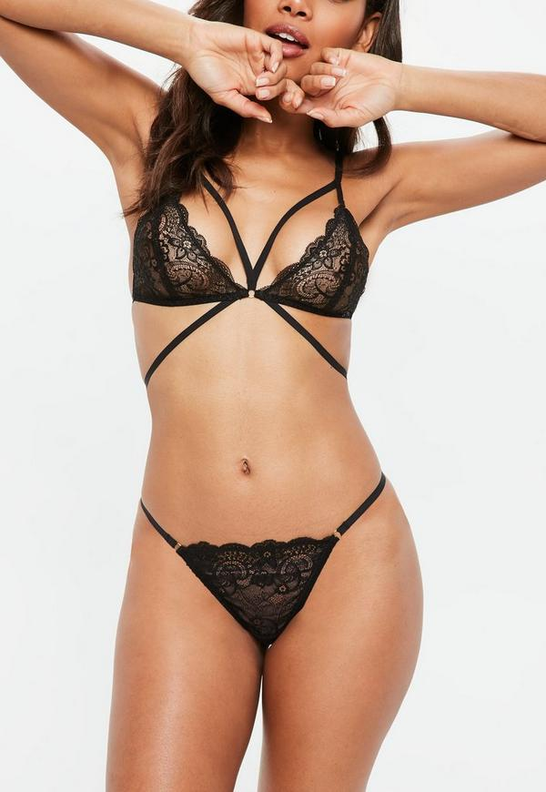 Gold Ring Lace Thong Black Missguided