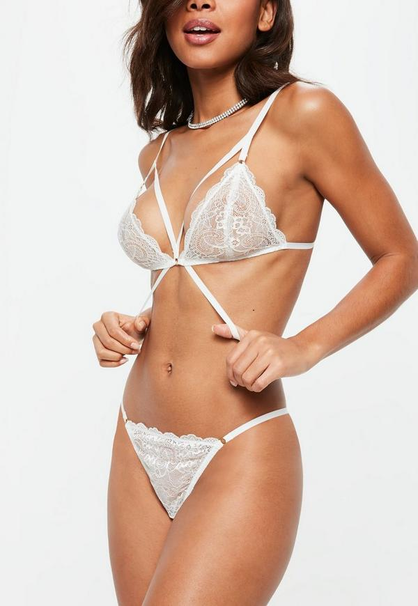 Gold Ring Lace Thong White