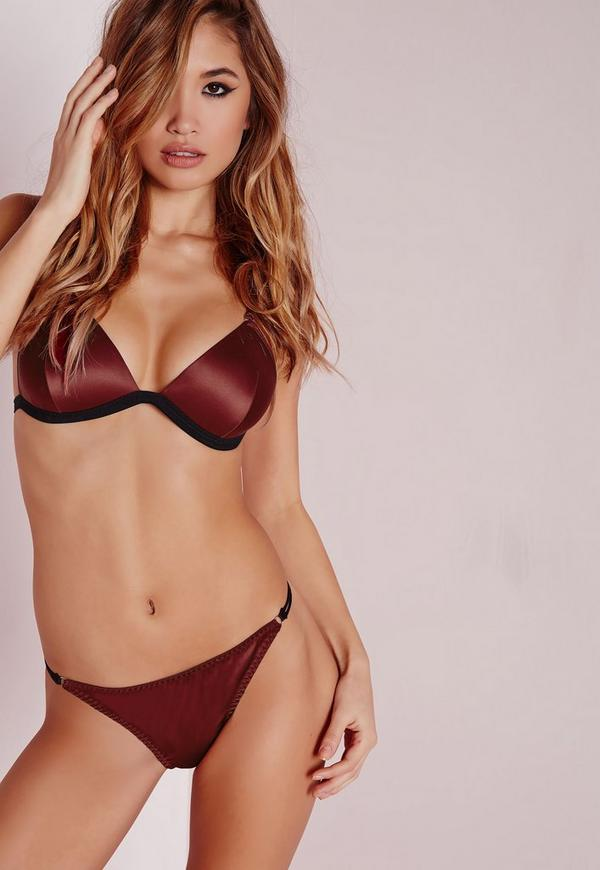 Satin Gold Ring Detail Knickers Burgundy