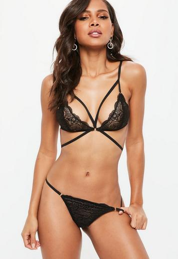 Strappy Lace Triangle Bra Black Missguided