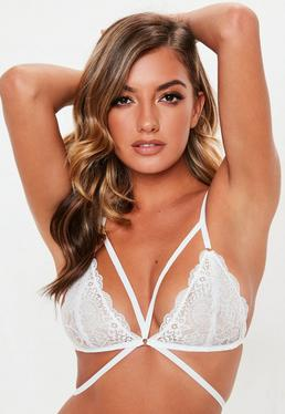 Strappy Lace Triangle Bra White