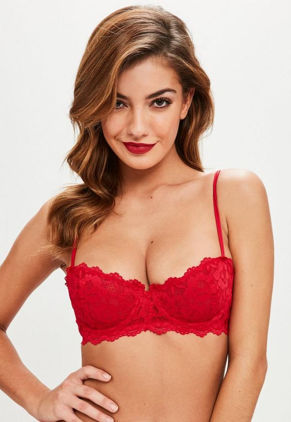 Red Scalloped Lace Underwired Bra