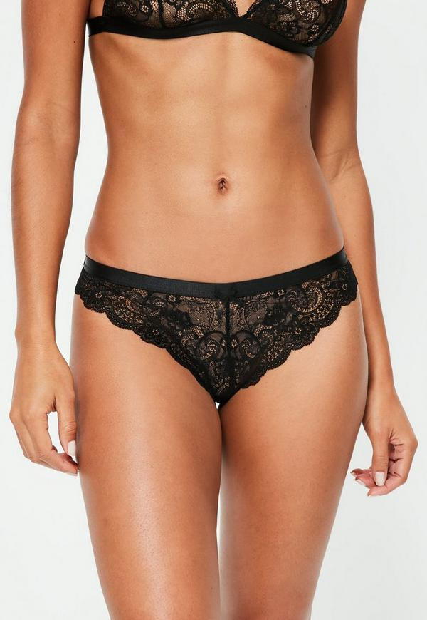Scallop Lace Thong Black