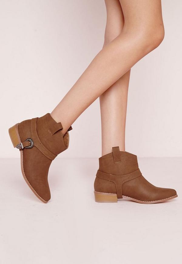 Spur Strap Cowboy Boots Tan