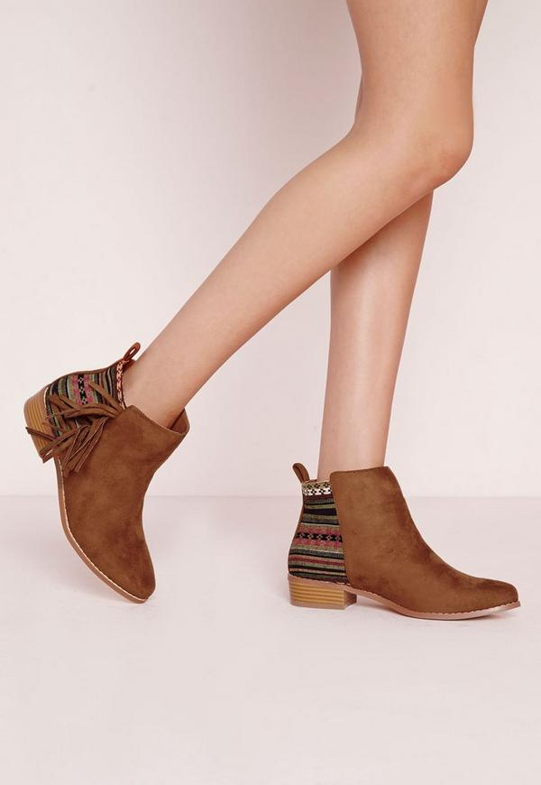 Embroidered Tassel Ankle Boots Tan