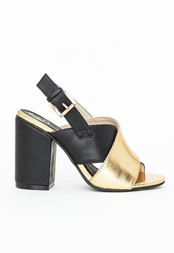 Contrast Crossover Strap Mules