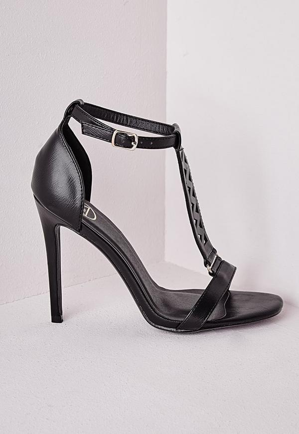 Laser Cut Barely There Heeled Sandals Black