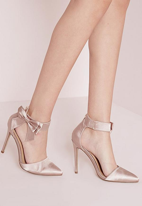 Ankle Strap Bow Detail Court Shoes