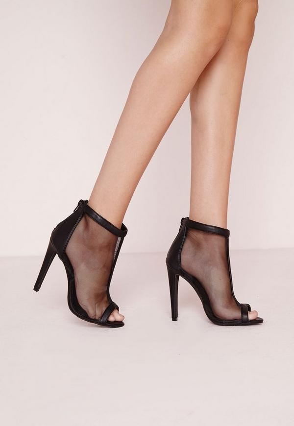 Mesh Peep Toe Heeled Boots Black