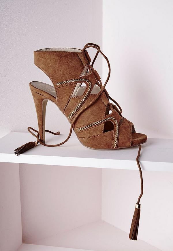 Lace Up Tassel Heeled Sandals With Gold Chain Detail Tan