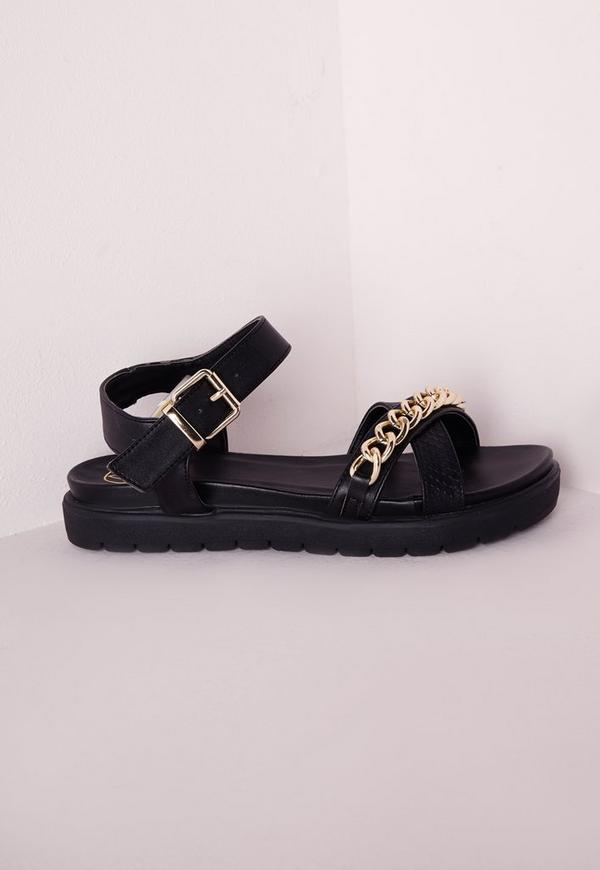 Chain Strap Sandals Black Snakeskin