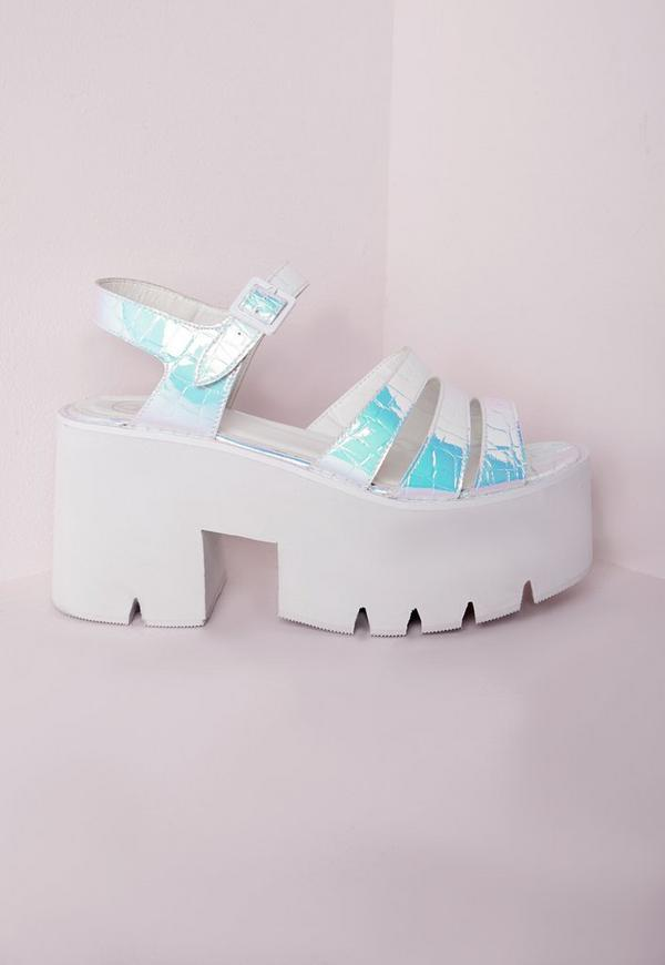 Cleated Chunky Flatform Sandals Iridescent White