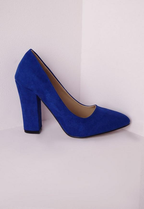 Block Heel Court Shoes Cobalt Blue