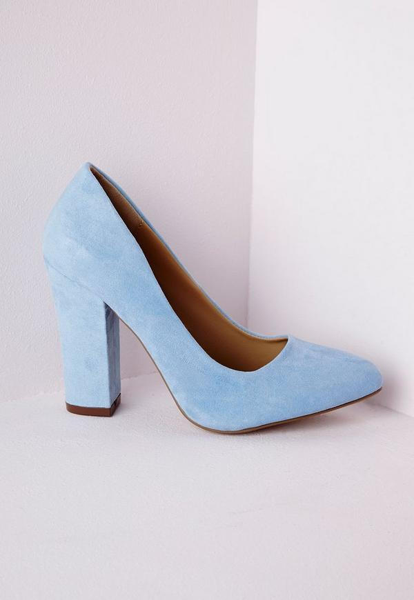 Block Heel Court Shoes Powder Blue